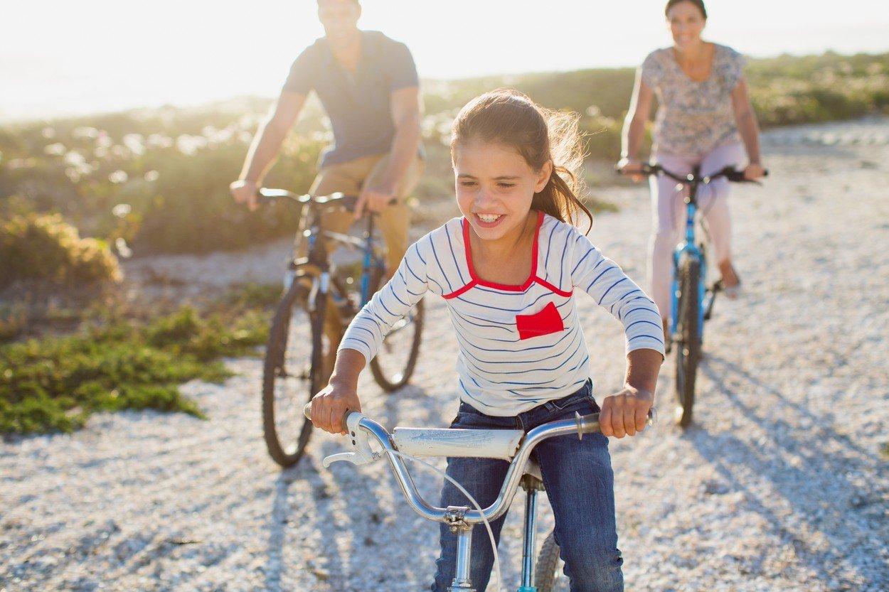 Porodica, vožnja bicikle, trening, deca