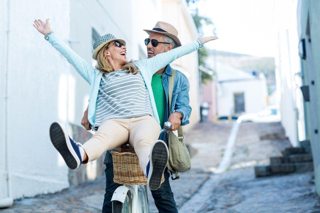 Par, vožnja bicikle, par, ljubav, zabava, trening